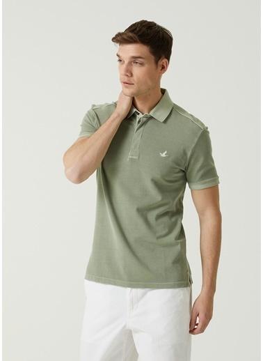 Beymen Club Beymen Club 101589689 Polo Yaka Kısa Kol Slim Fit Yakası Gizli Düğme Kapatmalı Logo Işlemeli Pike Dokulu Açık  Erkek Tişört Yeşil